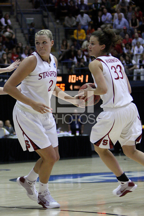 BERKELEY, CA - MARCH 30: Jayne Appel hands off to Jillian Harmon during Stanford's 74-53 win against the Iowa State Cyclones on March 30, 2009 at Haas Pavilion in Berkeley, California.