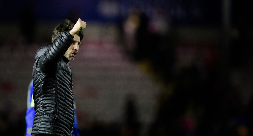 Lincoln City manager Danny Cowley celebrates at the end of the game<br /> <br /> Photographer Chris Vaughan/CameraSport<br /> <br /> The EFL Sky Bet League Two - Lincoln City v Yeovil Town - Friday 8th March 2019 - Sincil Bank - Lincoln<br /> <br /> World Copyright © 2019 CameraSport. All rights reserved. 43 Linden Ave. Countesthorpe. Leicester. England. LE8 5PG - Tel: +44 (0) 116 277 4147 - admin@camerasport.com - www.camerasport.com