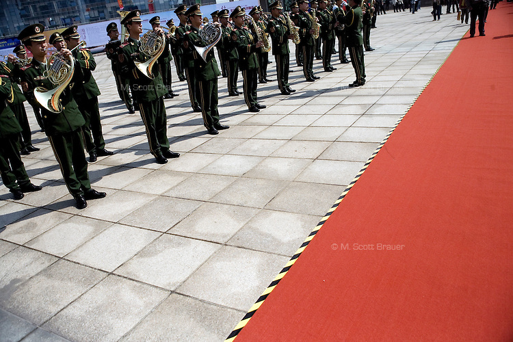 An army band performs at the opening of the Keqiao International Textiles, Fabrics, and Accessories Expo in Keqiao, Zhejiang, China.