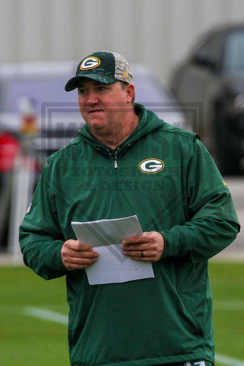 Green Bay Packers quarterback coach Alex Van Pelt during an Organized Team Activity on May 23, 2017 at Clarke Hinkle Field in Green Bay, Wisconsin.  (Brad Krause/Krause Sports Photography)