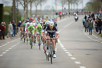 Guillaume Van Keirsbulck (BEL/OPQS) keeping up the tempo in the peloton (and even stretching it...)<br /> <br /> Ronde van Vlaanderen 2014