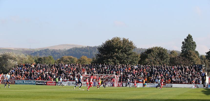 Blackpool fans watch the first half<br /> <br /> Photographer Alex Dodd/CameraSport<br /> <br /> The EFL Sky Bet League Two - Accrington Stanley v Blackpool - Saturday 15th October 2016 - Wham Stadium - Accrington<br /> <br /> World Copyright &copy; 2016 CameraSport. All rights reserved. 43 Linden Ave. Countesthorpe. Leicester. England. LE8 5PG - Tel: +44 (0) 116 277 4147 - admin@camerasport.com - www.camerasport.com
