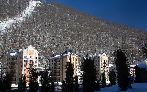 18.12.2013 Sochi, Russia. Hotels and apartment houses are seen in the ski resort Krasnaya Polyana, Russia. Sochi will host the Winter Olympic Games from 07 to 23 February 2014.
