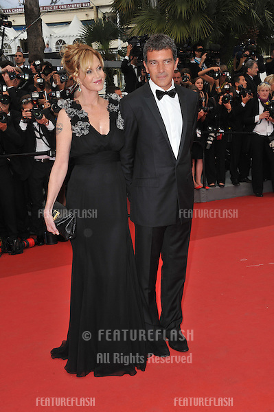 "Antonio Banderas & Melanie Griffith at the gala premiere for ""Midnight in Paris"" the opening film at the 64th Festival de Cannes..May 11, 2011  Cannes, France.Picture: Paul Smith / Featureflash"