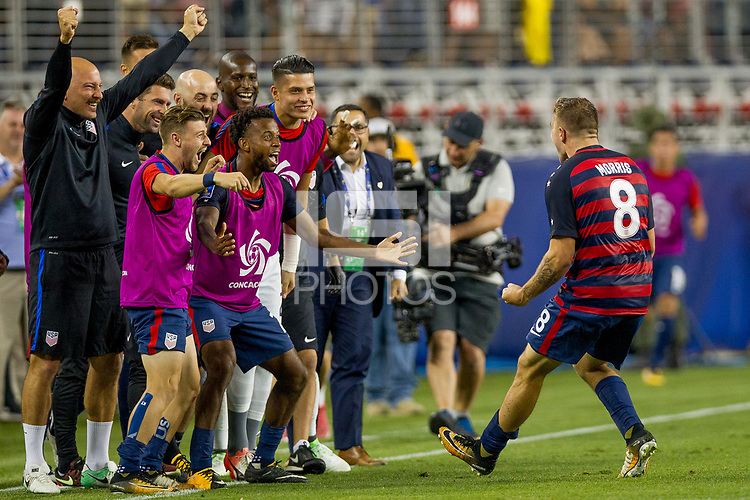 Santa Clara, CA - Wednesday July 26, 2017: The U.S. Men's national team celebrate winning the 2017 Gold Cup Championship by defeating Jamaica 2-1 in the Final during the 2017 Gold Cup Final Championship match between the men's national teams of the United States (USA) and Jamaica (JAM) at Levi's Stadium.