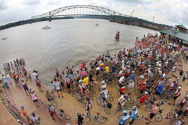 RAGBRAI riders converge on the port of Dubuque to dip their bike tires in the Mississippi River at the conclusion of RAGBRAI XXXVII on Saturday, July 31, 2010.  442 miles were traveled on the this year's ride from Sioux City to Dubuque.