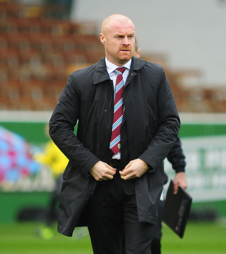 Burnley's Manager Sean Dyche <br /> <br /> Photo by Chris Vaughan/CameraSport<br /> <br /> Football - The Football League Sky Bet Championship - Burnley v Middlesbrough - Saturday 12th April 2014 - Turf Moor - Burnley<br /> <br /> &copy; CameraSport - 43 Linden Ave. Countesthorpe. Leicester. England. LE8 5PG - Tel: +44 (0) 116 277 4147 - admin@camerasport.com - www.camerasport.com