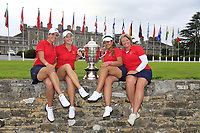 Kristen Gillman, Jennifer Kupcho, Lilia Vu Team Captain Stasia Collins Team USA with the Espirito Santo Trophy after the final of the World Amateur Team Championships 2018, Carton House, Kildare, Ireland. 01/09/2018.<br /> Picture Fran Caffrey / Golffile.ie<br /> <br /> All photo usage must carry mandatory copyright credit (© Golffile | Fran Caffrey)
