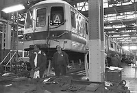 (021303-SWR05.jpg) New York, NY -- Circa 1988 - Workers repair, restore, and do routine maitenance on subway cars at the  New York City;s Transity Authority 211th Street Lay Ups.