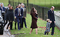 25 December 2016 - Princess Kate Duchess of Cambridge, Prince William Duke of Cambridge, Prince George and Princess Charlotte with Carole Middleton, Michael Middleton, James Middleton, Pippa Middleton and James Matthews attend a morning Christmas Day service at St Mark's Church in Englefield, Berkshire. Photo Credit: Alpha Press/AdMedia