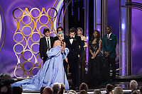 The Golden Globe for BEST ORIGINAL SONG &ndash; MOTION PICTURE goes to &quot;Shallow&quot; for &ldquo;A Star Is Born&rdquo; - music and lyrics by: Lady Gaga, Mark Ronson, Anthony Rossomando, and Andrew Wyatt - as accepted by Lady Gaga and Mark Ronson at the 76th Annual Golden Globe Awards at the Beverly Hilton in Beverly Hills, CA on Sunday, January 6, 2019.<br /> *Editorial Use Only*<br /> CAP/PLF/HFPA<br /> Image supplied by Capital Pictures