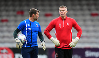 Lincoln City's goalkeeping coach Jimmy Walker, left, and Lincoln City's Paul Farman during the pre-match warm-up<br /> <br /> Photographer Chris Vaughan/CameraSport<br /> <br /> The EFL Sky Bet League Two - Lincoln City v Chesterfield - Saturday 7th October 2017 - Sincil Bank - Lincoln<br /> <br /> World Copyright &copy; 2017 CameraSport. All rights reserved. 43 Linden Ave. Countesthorpe. Leicester. England. LE8 5PG - Tel: +44 (0) 116 277 4147 - admin@camerasport.com - www.camerasport.com