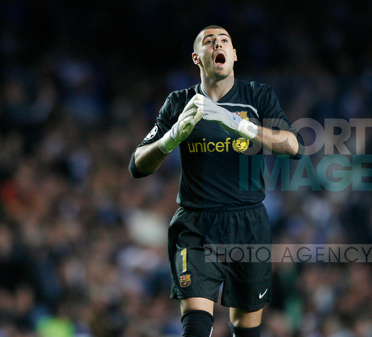 Barcelona's Victor Valdes looks on after a missed chance