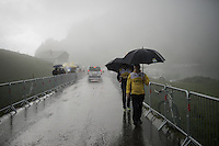 Team LottoNL-Jumbo soigneurs arriving on top of the Col de Joux Plane (HC/1691m/11.6km/8.5%) ahead of the riders, so to assist them when needed<br /> <br /> Stage 20: Meg&egrave;ve &rsaquo; Morzine (146.5km)<br /> 103rd Tour de France 2016