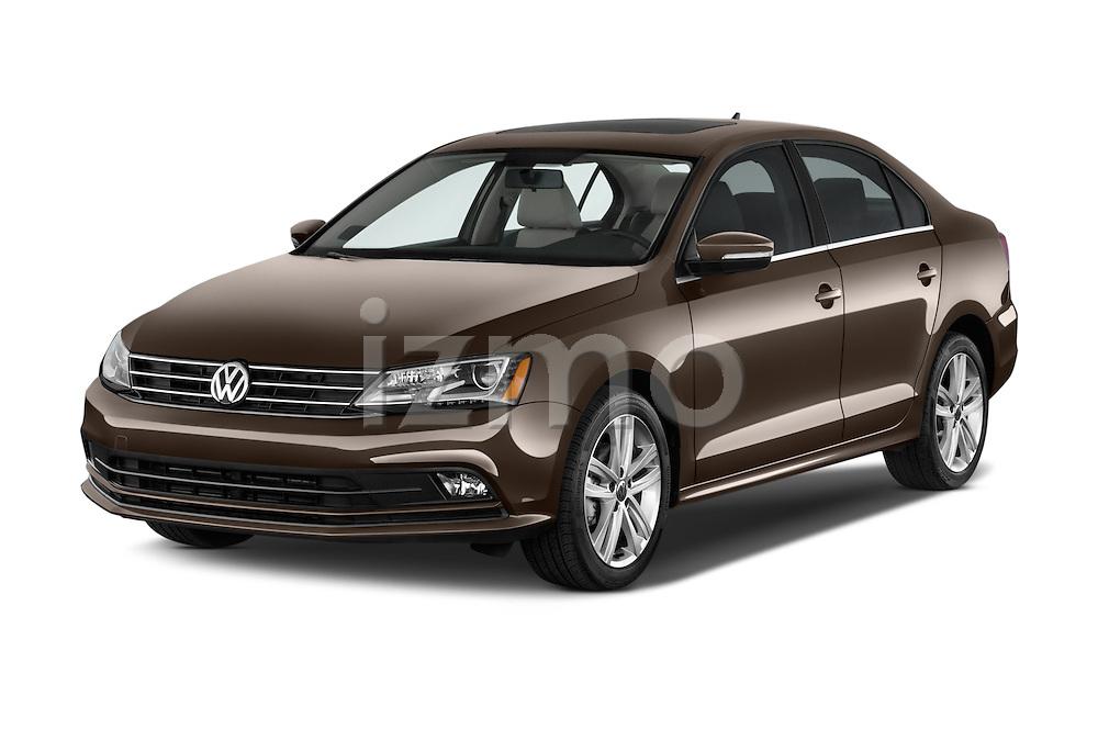 2015 Volkswagen Jetta 2.5L SEL 4 Door Sedan Angular Front stock photos of front three quarter view
