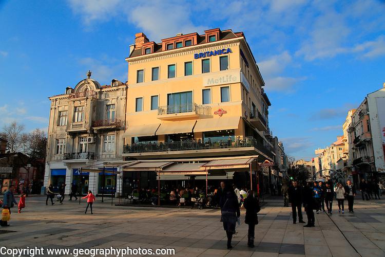 People strolling winter evening, Knyaz Aleksandar street, city centre, Plovdiv, Bulgaria, eastern Europe