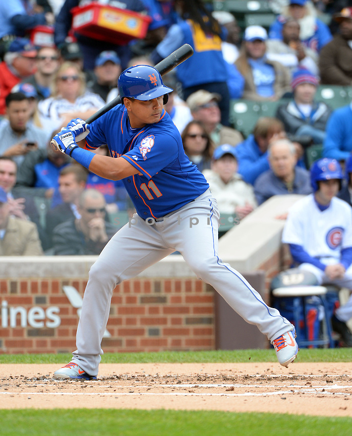 New York Mets Ruben Tejada (11) during a game against the Chicago Cubs on May 14, 2015 at Wrigley Field in Chicago, IL. The Cubs beat the Mets 6-5.