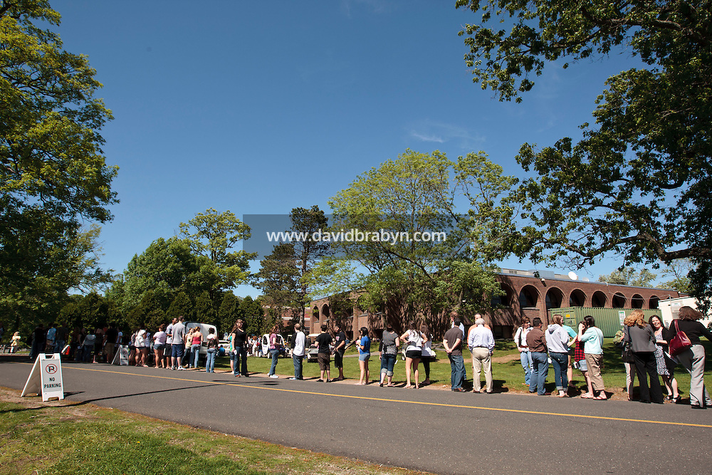 People wait in line before attending a talk and performance by Bruce Springsteen, Robert Pinsky and John Wesley Harding at the 2010 literary and music festival WAMFest at Fairleigh Dickinson University, Madison, NJ, USA, 6 May 2010.