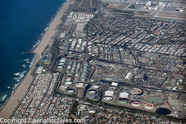 aerial photography Chevron Refinery, El Segundo, California