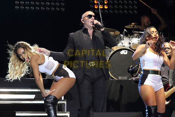 BIRMINGHAM, UNITED KINGDOM - AUGUST 30: Pitbull performs onstage during day 1 of Fusion Festival 2014 on August 30, 2014 in Birmingham, England.<br /> CAP/ROS<br /> &copy;Steve Ross/Capital Pictures