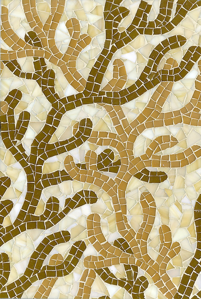 Coral, a hand cut glass mosaic shown in Charles, McCobb and Agate, is part of the Erin Adams Collection for New Ravenna Mosaics for New Ravenna Mosaics.<br />