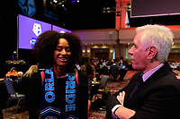 Philadelphia, PA - Thursday January 18, 2018: Nadia Gomes, Tom Sermanni during the 2018 NWSL College Draft at the Pennsylvania Convention Center.