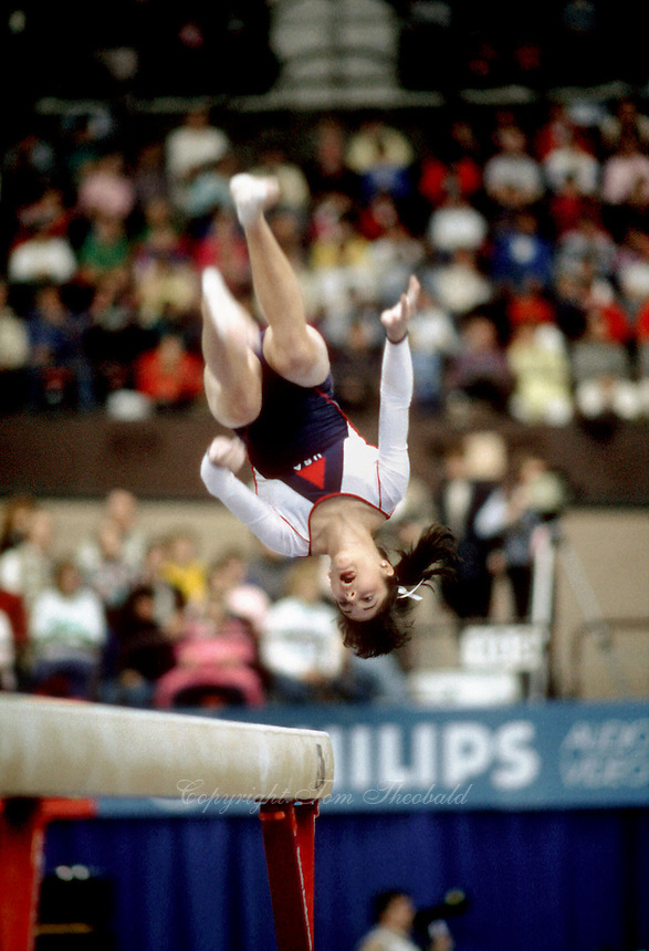Kelly Garrison of USA mounts to balance beam during team competition at 1985 World Championships in October at Montreal, Canada.  Garrison appeared in 3 world championships and was team captain of the 1988 Olympic team. (Photo by Tom Theobald)