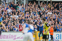 The crowd reacts to a last minute winning goal scored by Lee Brown of Bristol Rovers, giving the side promotion to League One during the Sky Bet League 2 match between Bristol Rovers and Dagenham and Redbridge at the Memorial Stadium, Bristol, England on 7 May 2016. Photo by Mark  Hawkins / PRiME Media Images.