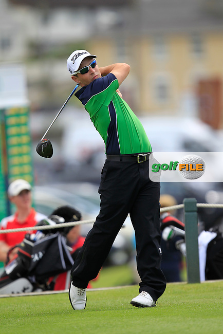 Daniel Holland (Castle) on the 1st tee during the South of Ireland Amateur Open Championship Second Round at Lehinch Golf Club  28th July 2013 <br /> Picture:  Thos Caffrey / www.golffile.ie
