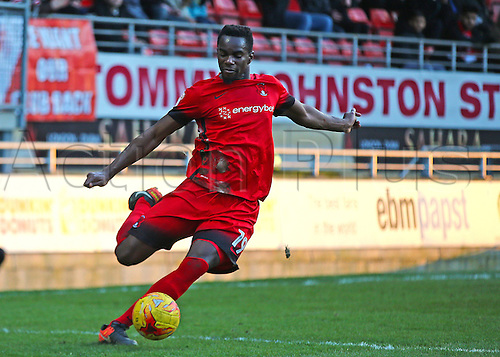February 18th 2017,  Matchroom Stadium, Leyton, London, England, Skybet Division 2 football, Leyton Orient versus Notts County;  Teddy Mezague of Leyton Orient clears the ball
