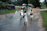 Girls heading home from school in Sri Lanka in 1996.