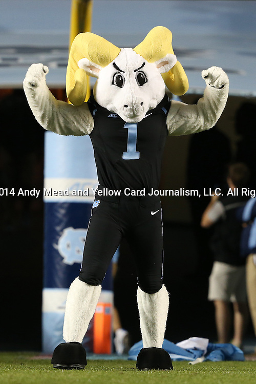 18 October 2014: UNC mascot Rameses. The University of North Carolina Tar Heels hosted the Georgia Tech Yellow Jackets at Kenan Memorial Stadium in Chapel Hill, North Carolina in a 2014 NCAA Division I College Football game. UNC won the game 48-43.