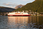 Hurtigruten ferry ship Nordlys approaching Tromso, Norway