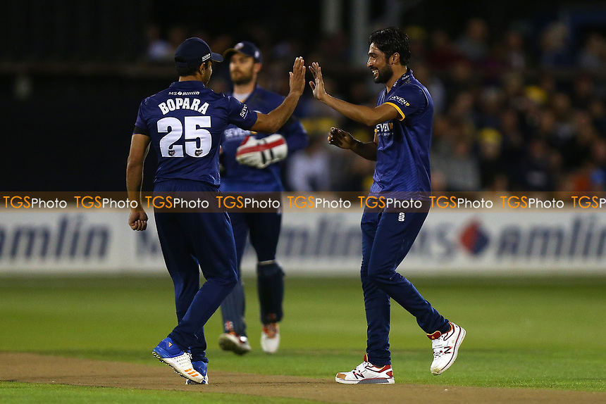 Mohammad Amir of Essex is congratulated by his team mates after taking the wicket of Stevie Eskinazi during Essex Eagles vs Middlesex, NatWest T20 Blast Cricket at The Cloudfm County Ground on 11th August 2017