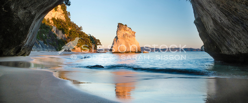Cathedral Cove at dawn, Coromandel Peninsula, New Zealand - stock photo, canvas, fine art print
