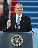 President Barack Obama delivers his inaugural address after being sworn-in for a second term as the President of the United States by Supreme Court Chief Justice John Roberts during his public inauguration ceremony at the U.S. Capitol Building in Washington, D.C. on January 21, 2013.    .Credit: Pat Benic / Pool via CNP