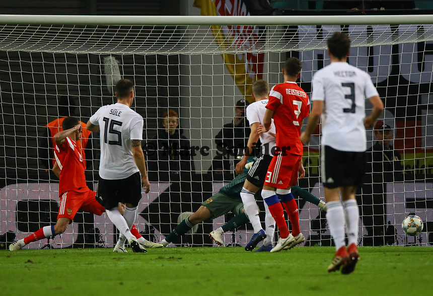 Niklas Süle (Deutschland Germany) erzielt das Tor zum 2:0 - 15.11.2018: Deutschland vs. Russland, Red Bull Arena Leipzig, Freundschaftsspiel DISCLAIMER: DFB regulations prohibit any use of photographs as image sequences and/or quasi-video.