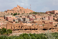 Boulmane, Morocco.  Hotel Xaluca at top, Modern Apartments in Middle, Abandoned Traditional Houses at Bottom.
