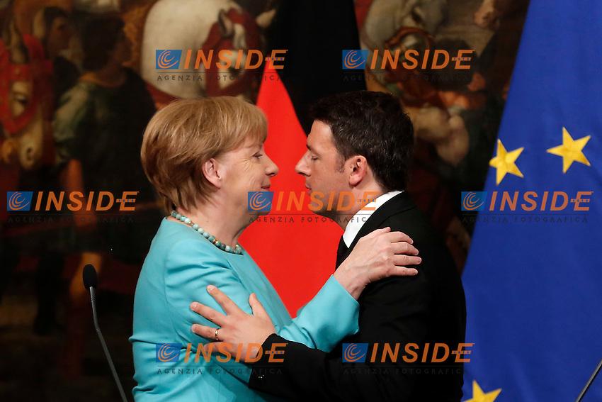 Angela Merkel e Matteo Renzi<br /> Roma 05-05-2016 Palazzo Chigi. Il Premier italiano incontra la Cancelliera tedesca.<br /> Italian premier meets the Deutch Cancellor.<br /> Photo Samantha Zucchi Insidefoto