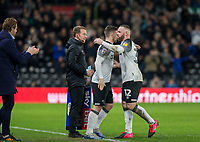 31st January 2020; Pride Park, Derby, East Midlands; English Championship Football, Derby County versus Stoke City; Wayne Rooney of Derby County comes off the pitch as he is substituted in the second half