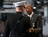United States President Barack Obama shakes hands with Chairman of the Joint Chiefs of Staff Gen. Joseph Dunford Jr. during Obama's Armed Forces Full Honor Review Farewell Ceremony at Joint Base Myers-Henderson Hall, in Virginia on January 4, 2017. The five braces of the military honored the president and vice-president for their service as they conclude their final term in office. <br /> Credit: Kevin Dietsch / Pool via CNP