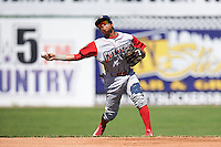 Williamsport Crosscutters shortstop Grenny Cumana (2) throws to first during a game against the Batavia Muckdogs on July 16, 2015 at Dwyer Stadium in Batavia, New York.  Batavia defeated Williamsport 4-2.  (Mike Janes/Four Seam Images)