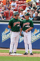 Buffalo Bisons Ryan Garko (left) and Jake Gautreau during an International League game at Dunn Tire Park on June 18, 2006 in Buffalo, New York.  (Mike Janes/Four Seam Images)
