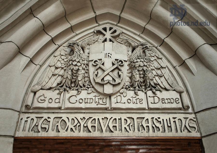 "East Door of Basilica, ""God, Country, Notre Dame""<br /> <br /> Photo by Matt Cashore/University of Notre Dame"