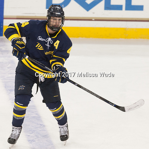 Marc Biega (Merrimack - 4) - The visiting Merrimack College Warriors defeated the Boston College Eagles 6 - 3 (EN) on Friday, February 10, 2017, at Kelley Rink in Conte Forum in Chestnut Hill, Massachusetts.