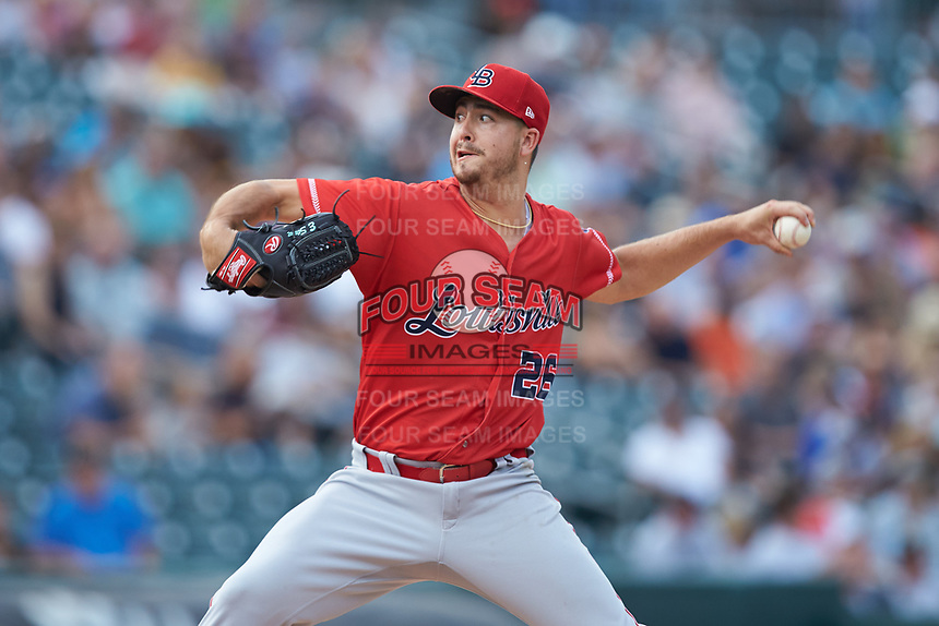 Louisville Bats starting pitcher Eric Stout (26) in action against the Charlotte Hornets at BB&T BallPark on June 22, 2019 in Charlotte, North Carolina. The Hornets defeated the Bats 7-6. (Brian Westerholt/Four Seam Images)