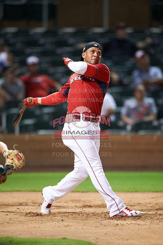 Surprise Saguaros Yoan Moncada (10), of the Boston Red Sox organization, during the Bowman Hitting Challenge on October 8, 2016 at the Salt River Fields at Talking Stick in Scottsdale, Arizona.  Moncada placed third for the American League.  (Mike Janes/Four Seam Images)
