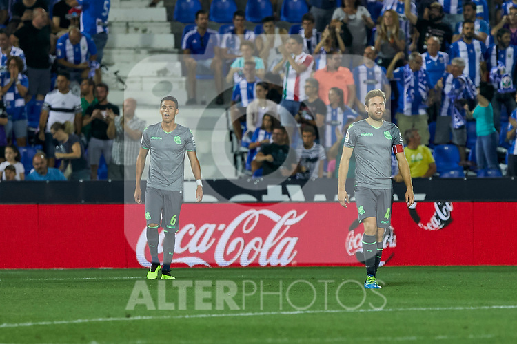 Real Sociedad's Hector Moreno (l) and Asier Illarramendi (r) during La Liga match. August 24, 2018. (ALTERPHOTOS/A. Perez Meca)