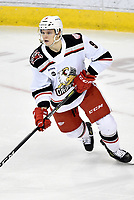 HERSHEY, PA - JANUARY 05: Grand Rapids Griffins defenseman Vili Saarijarvi (9) looks for a pass during the Grand Rapids Griffins vs. Hershey Bears AHL game at the Giant Center in Hershey, PA. (Photo by Randy Litzinger/Icon Sportswire)
