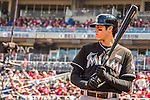 15 May 2016: Miami Marlins outfielder Christian Yelich in action against the Washington Nationals at Nationals Park in Washington, DC. The Marlins defeated the Nationals 5-1 in the final game of their 4-game series.  Mandatory Credit: Ed Wolfstein Photo *** RAW (NEF) Image File Available ***